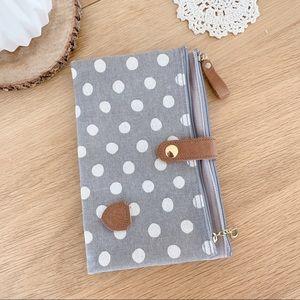 Canvas polka dot travel wallet / makeup